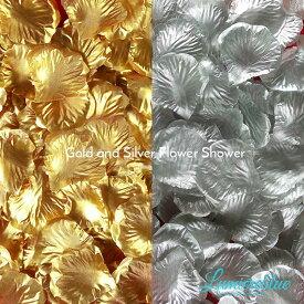 (あす楽) フラワーシャワー ゴールド シルバー 約1000枚 | 花びら 造花 大量 生花 花 バラ フラワーペタル ローズ 薔薇 金 銀 結婚式 ウエディング ウェディング 前撮り アイテム ウェルカムスペース 飾り フォト グッズ フラワー シャワー コンフェッティ パーティー b3480