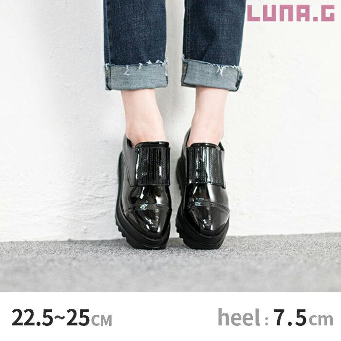 [6.5cm厚底]エナメル プラットフォーム ドレスシューズ ラバーソール ローファー マニッシュ靴 メンズライクシューズ レディース 靴【送料無料】【全1色】[Black]【サイズ】22.5cm 〜 25.0cm dso1289