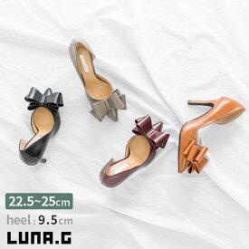 合成皮革 エナメル ポインテッドトゥ パンプス ハイヒール リボン ピンヒール レディース 靴 韓国ファッション