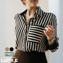 シャツブラウスレディーストップスストライプボーダー韓国ファッションフォーマルスーツインナーオフィスOLビジネスゆったり体型カバー母ママ服装20代30代40代50代上品大人可愛いおしゃれバイカラーロールアップ