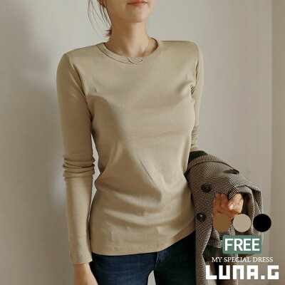 Tシャツシンプルベーシック長袖コットン綿100%トップスカットソーレディース韓国ファッションプルオーバーインナーカジュアルかわいい