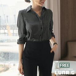 ストライプブラウスシフォンシャツ春おしゃれレディース韓国ファッションベーシックフォーマルスーツインナー通勤オフィスOLビジネスママ母親服装20代30代40代50代