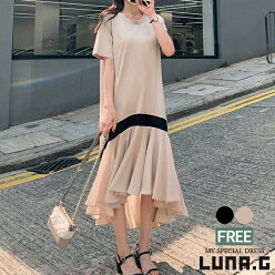 ワンピースレディース夏半袖きれいめ韓国ファッションリゾートワンピマキシワンピースミモレ丈アンバランス裾フリルバイカラー20代30代40代50代大人可愛いカジュアルおしゃれ