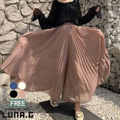 プリーツフレアワイドパンツプリーツパンツスカートパンツスカンツスカーチョガウチョパンツシフォンウエストゴムレディースボトムス韓国ファッションおしゃれ大人かわいい春夏新作体型カバー