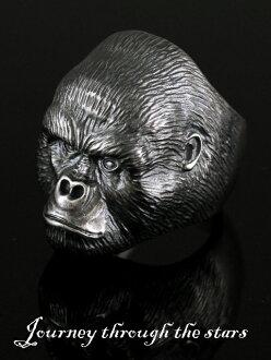 [Gorillaring] 星星之旅 (銀 / 銀 925 銀飾品 / 銀斧頭 / Silver925 / 銀 / 旅程通過星星 / 戒指 / 指環 / 男士 / 大猩猩 / 動物 / 動物 /J.T.S)