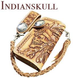 スカル インディアンスカル バイカーズウォレット 長財布 3点セット深彫り カービングウォレット