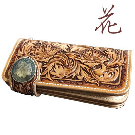 カービング ウォレット フルフラワーカービング 花柄 深彫り カービング 財布。カービング財布 本革 レザーウォレット