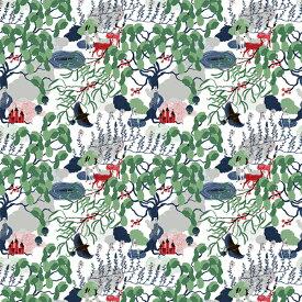 ★合計1.5mまでメール便【ネコポス】対応★生地 ARVIDSSONS TEXTILアルビッドソンズ・テキスタイル Mimers Brunn ミーミルの泉 グリーン 10cm単位はかり売り 布・クロス / 北欧 生地 スウェーデン ブランド 布 おしゃれ かわいい モダン 手芸