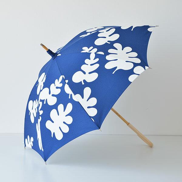 【送料無料】晴雨兼用傘 boras ボラス Glada Blad ハッピーリーブス ブルー 北欧 北欧生地 フィンランドブランド おしゃれ かわいい uvカット
