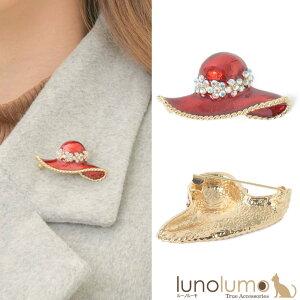 【メール便送料無料】ブローチ レディース 帽子 ハット 赤 レッド 花 フラワー メタル ゴールド キラキラ B