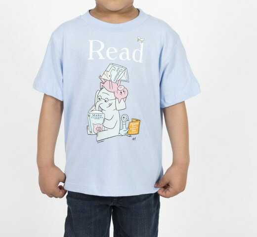 [Out of Print] Mo Willems / Read with Elephant & Piggie, and The Pigeon Tee (Light Blue) (Kids')