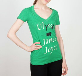 [Out of Print] James Joyce / Ulysses V-Neck Tee (Kelly Green) (Womens)