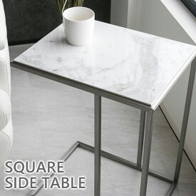【送料無料】 サイドテーブル 大理石柄 高級感 長方形 モダン ステンレス 45 鏡面 テーブル マーブル ソファサイドテーブル 北欧 おしゃれ セラミック スタイリッシュ ナイトテーブル