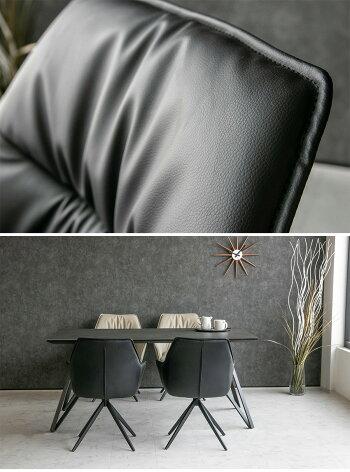 【送料無料】ダイニングチェア2脚セット回転肘付きPUレザーベージュブラック黒モダンスタイリッシュ北欧おしゃれ高級レザー合成皮革回転式椅子(ダイニングチェア同色2脚セット)