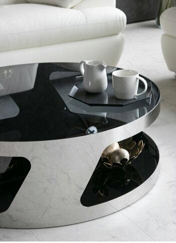 【送料無料】センターテーブル高級感モダン丸テーブルガラス製ガラステーブルローテーブルブラック黒シルバーメタルおしゃれ丸型シンプルスタイリッシュ