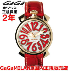 【国内正規品】GaGa MILANO ガガミラノ 腕時計 ウォッチ レディース MANUALE 40MM マニュアーレ40mm 5021.5 ホワイトシェル/レッド