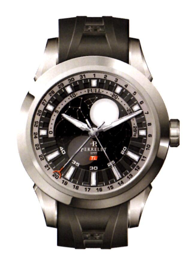 【国内正規品】 PERRELET/ペルレ 自動巻 腕時計 TITANIUM MOONPHASE A5000/2