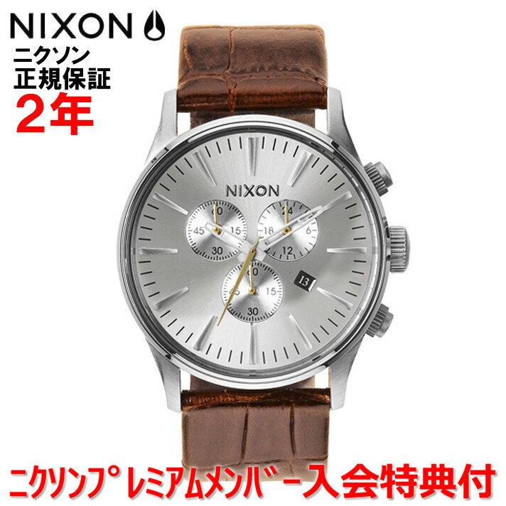 レビュー記入でNIXONノベルティープレゼント!!【国内正規品】NIXON ニクソン 腕時計 メンズ レディース Sentry Chrono Leather 42mm/セントリークロノレザー NA4051888-00