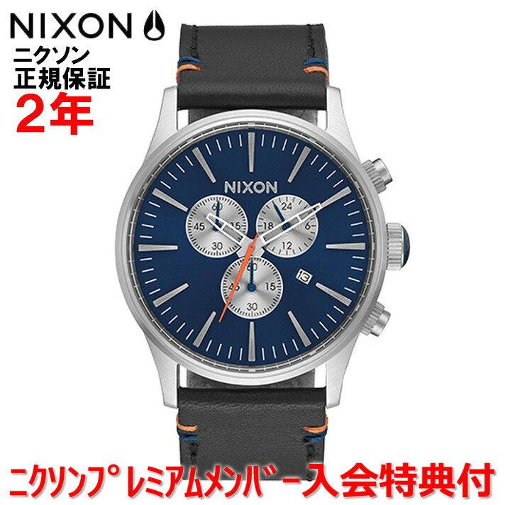 レビュー記入でNIXONノベルティープレゼント!!【国内正規品】NIXON ニクソン 腕時計 メンズ レディース Sentry Chrono Leather 42mm/セントリークロノレザー NA4051258-00