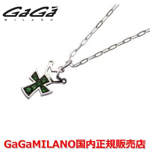 【国内正規品】GaGa MILANO/ガガミラノ Men's/メンズ Ladies/レディース K18WG CROSS NECKLACE/クロスネックレス(M) クロス/グリーンガーネット(M)