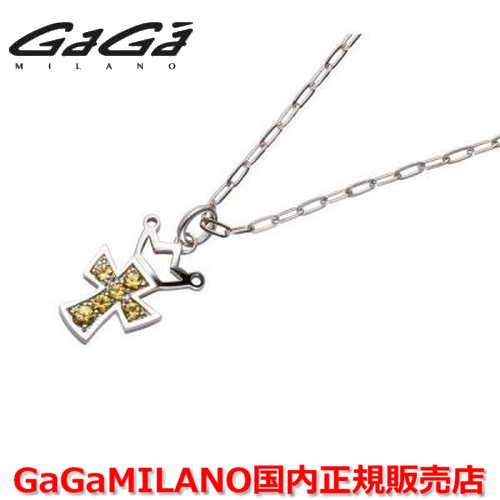 【国内正規品】GaGa MILANO/ガガミラノ Men's/メンズ Ladies/レディース K18WG CROSS NECKLACE/クロスネックレス(M) クロス/イエローサファイヤ(M)
