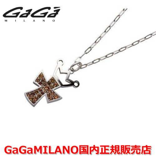 【国内正規品】GaGa MILANO/ガガミラノ Men's/メンズ Ladies/レディース K18WG CROSS NECKLACE/クロスネックレス(L) クロス/オレンジサファイヤ(L)