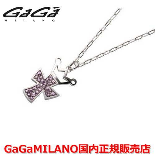 【国内正規品】GaGa MILANO/ガガミラノ Men's/メンズ Ladies/レディース K18WG CROSS NECKLACE/クロスネックレス(L) クロス/ピンクサファイヤ(L)