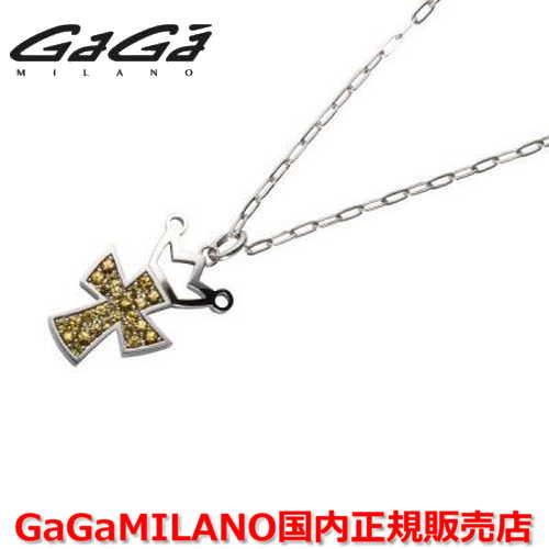【国内正規品】GaGa MILANO/ガガミラノ Men's/メンズ Ladies/レディース K18WG CROSS NECKLACE/クロスネックレス(L) クロス/イエローサファイヤ(L)
