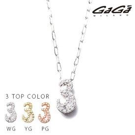 """【国内正規品】GaGa MILANO ガガミラノ Men's Ladies/メンズ レディース K10 NUMBER WHITE DIAMOND/ナンバーホワイトダイヤモンド NECKLACE/ネックレス 番号""""3"""""""