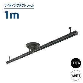 【幅1m】ライティングダクトレール ブラック ホワイト ダクトレール スポットライト インテリア ライティングレール レール ダイニング ペンダントライト 簡単取付 天井照明 照明器具 レールライト 照明 LEDランプ(LUX-DR-1000)