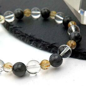 黒翡翠 ブレスレット 天然石 パワーストーン ブラック ジェイド ヒスイ ひすい タイチン ルチルクォーツ 水晶 ブレス