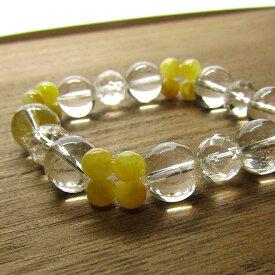 ヒマラヤ水晶 ブレスレット 天然石 パワーストーン イエロージェイド 水晶ミラーカット ブレス
