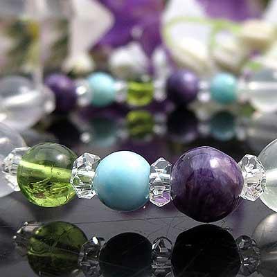 マダガスカル産天然 水晶 チャロアイト ペリドット ラリマー ブレスレット 天然石 パワーストーン ブレス あす楽