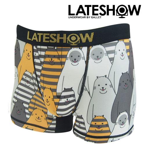 LATESHOW レイトショー ボーダー キャット Border cat(ORG) 猫 アニマル ボクサーパンツ メンズ ブランド 正規品 下着 パンツ インナー ローライズ 誕生日 プレゼント ギフト ラッピング 無料 彼氏 父 男性 旦那 大人 速乾 父の日