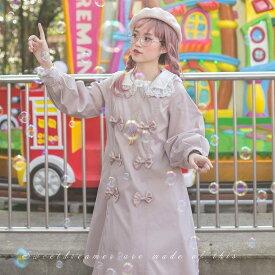 【受注生産 納期40日】ロリータ sweet dreamer おリボンがいっぱい レース襟が可愛いトレンチコート ピンク ミモレ丈 上品 クラシカル パフスリーブ