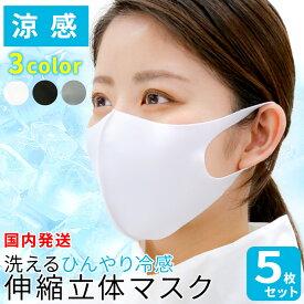 ひんやり冷感伸縮立体マスク 5枚セット 大人 子供 在庫あり 洗える マスク 小さめ あり おしゃれ