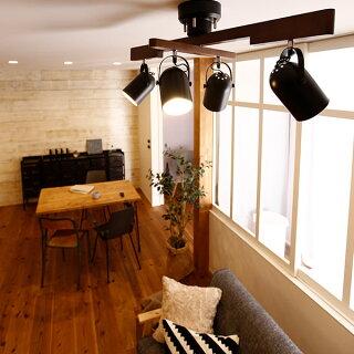 スポットライトシーリングシーリングライト4灯LED電球対応照明天井天井照明スポットクロスウッド天然木スチールリモコン付きリモコンリビング