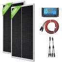 ソーラーパネル 200W 太陽光パネル 発電キット: 2個 100W 単結晶ソーラーパネル + 4m ソーラーケーブル(2m 赤・2m 黒…