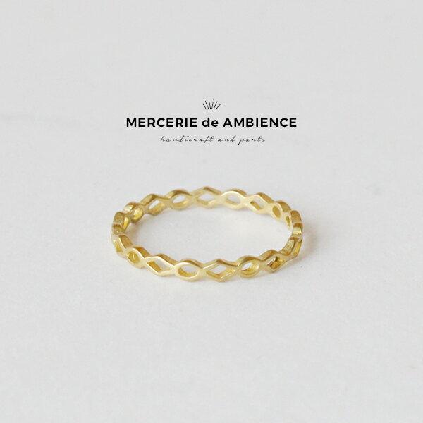 ダイヤとオーバルの透かし模様リング 1個 真鍮 ブラスメール便対応 ビーズアンドパーツ アクセサリーパーツ