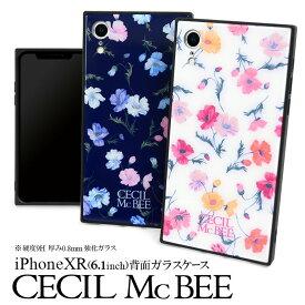 iPhoneXR ケース CECIL McBEE セシルマクビー 「背面ガラスケース」iphone xr ケース 花柄 ブランド かわいい おしゃれ アイフォンxr スマホケース