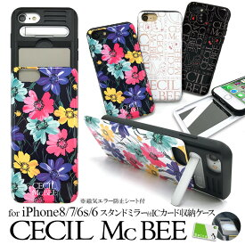 iPhoneSE 第2世代 iPhone8 ケース iPhone7 ケース CECILMcBEE セシルマクビー iPhone6s iPhone6 ケース おしゃれ 可愛い かわいい ブランド カード入れ スタンド ミラー付き スマホケース「シェルケース」