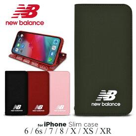 iPhoneSE 第2世代 iPhone8 ケース iphone7 手帳型 ケース New Balance ニューバランス iphone6s iphone6 ケース 「シンプル手帳ケース」 留め具なし スタンド機能 ストラップホール アイフォン8 おしゃれ スポーツ ブランド