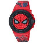 腕時計スパイダーマンマーベルボーイズクォーツ時計レッドプラスチックストラップ付きSPD4483並行輸入品【キャラクターグッズプレゼントお子様お祝い誕生日アベンジャーズライトアップ光るフリップ】