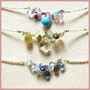 天然石ビジュ−ブーケ K10/SVネックレス極小淡水真珠連【クリスマス】1点物 訳アリ天然石入り