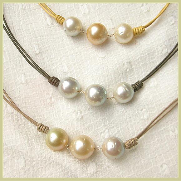 白蝶真珠 丸っこい 3個編み K10/SVワックスコードネックレス【在庫天然石放出バーゲン】