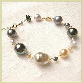 白蝴蝶珍珠黑蝴蝶珍珠南洋珍珠芥子制造制造K10手镯