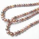 ナチュラル色 ミックスカラー淡水真珠 ネックレス マグネット金具付