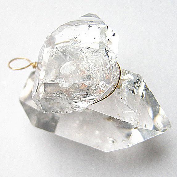 巨大 ハーキマーダイヤモンド 超大粒23mmUP K10チャーム【SV丸革紐60〜70cm付】