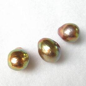 高干渉色 玉虫色 天然色 淡水真珠バロック 無穴ルース(裸石)