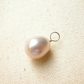 モードはナチュラルカラー 淡水真珠 ピンク 片穴9.5-10mm K10チャーム